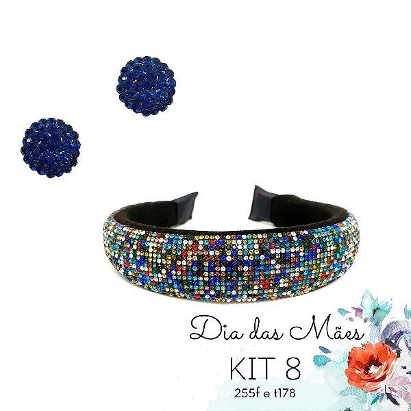 KIT 8 - Brinco Pequeno Redondo Azul +Tiara de Strass Colorida
