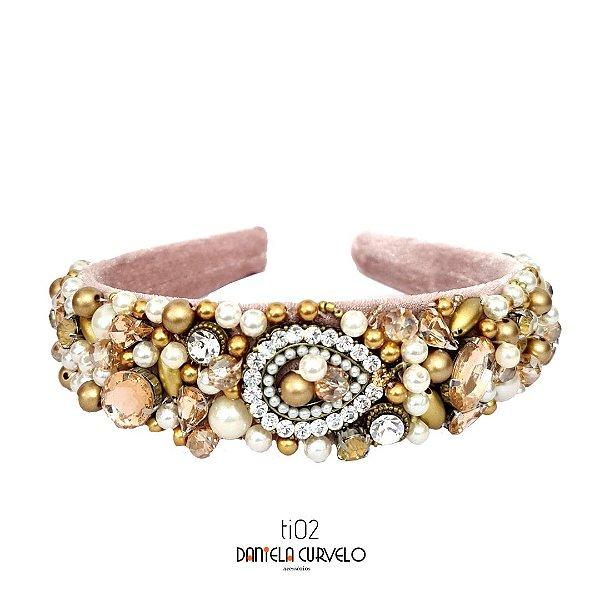 Tiara de Luxo Bordada com Pedras Rosê e Dourado com Pérolas - TI02