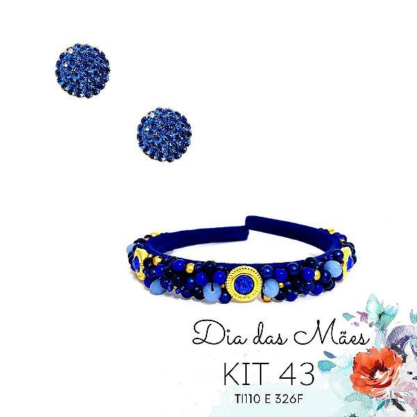 KIT 43 - Tiara Bordada Fina Furta cor Azul Bic + Brinco Redondo Azul
