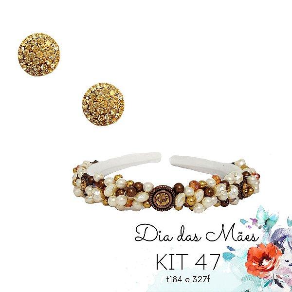 KIT 47 - Tiara Fina Branca Bronze + Brinco Redondo Branco