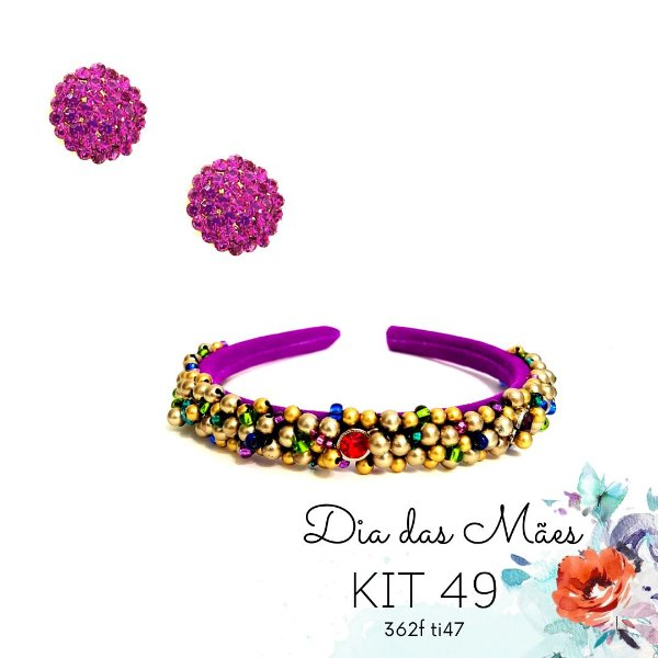 KIT 49 - Tiara Fina Roxa e Colorida + Brinco Redondo Pink