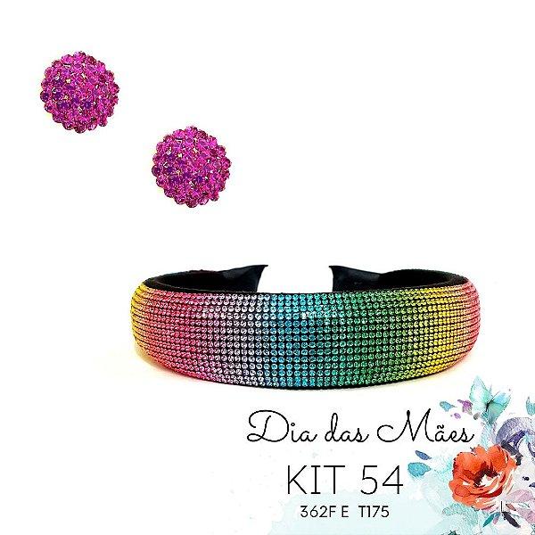 KIT 54 - Tiara Larga de Strass Tie Dye + Brinco Redondo Pink