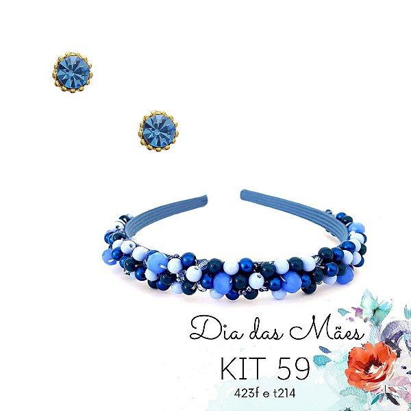KIT 59 - Tiara Fina Bordada Azul BIC + Brinco Ponto de Luz Azul