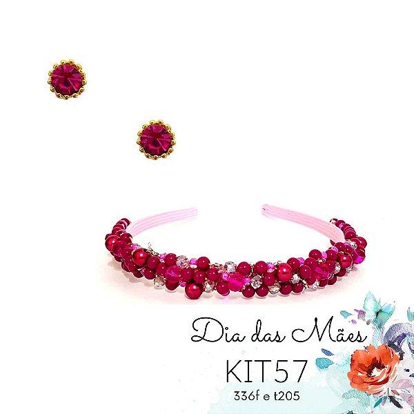 KIT 57 - Tiara Fina Bordada Rosa Pink + Brinco Ponto de Luz
