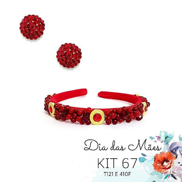 KIT 67 - Tiara Bordada Fina Vermelha + Brinco Redondo Vermelho