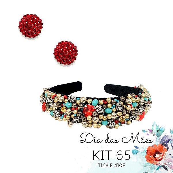 KIT 65 - Tiara Bordada Turquesa e Vermelho + Brinco Redondo Vermelho