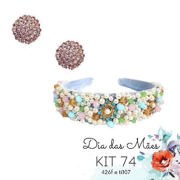KIT 74 - Tiara Bordada Larga Azul Candy + Brinco Redondo Rosê