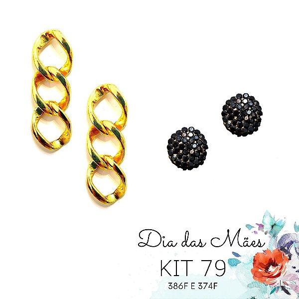 KIT 79 - Brinco Corrente Dourada + Brinco Redondo Preto