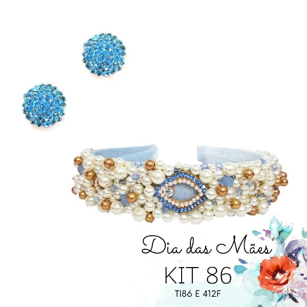 KIT 86 - Tiara Larga Azul Clara  + Brinco Redondo Azul Claro
