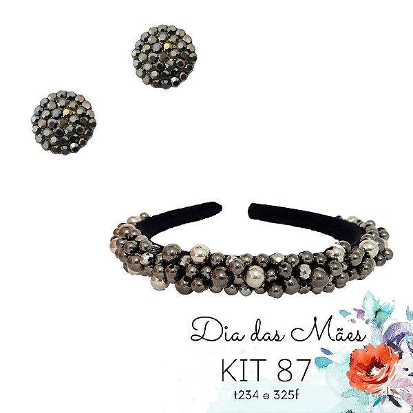 KIT 87 - Tiara Fina Missangas Cinza  + Brinco Hematite