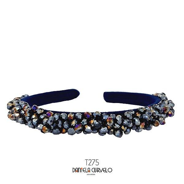 Tiara de Luxo Bordada Cristais Azul Furta-cor T275
