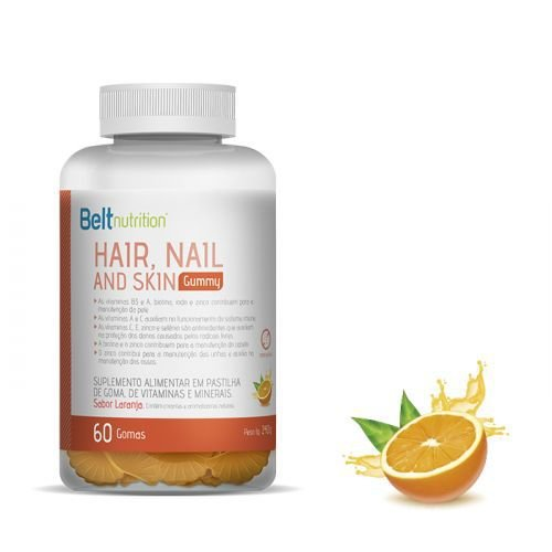 Belt Hair, Nail and Skin Gummy - Sabor Laranja - 60 Gomas