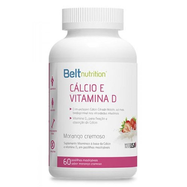 Cálcio e Vitamina D Suplemento Vitamínico c/ 60 pastilhas de morango mastigável