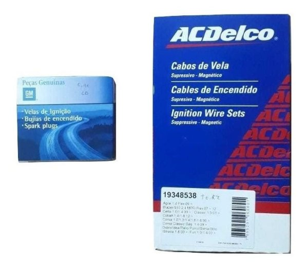 Kit Cabos Velas GM Original Corsa 1.0 1.4 1.6 8v 1997 98 99 2000 2001 Gasolina