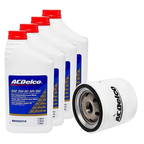 Kit Troca Oleo 5w30 ACDelco + Filtro Original Agile Meriva Montana Celta Corsa Todos Flex