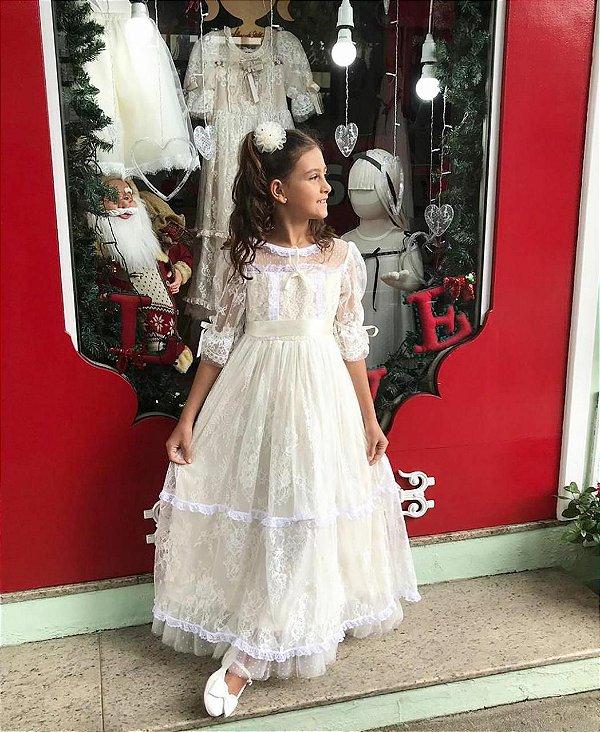 Vestido Boneca de Pano Longo - Off White