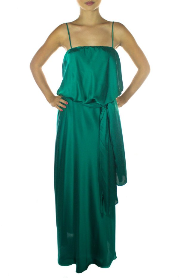 Vestido Assistente do Mágico Longo - Verde Escuro