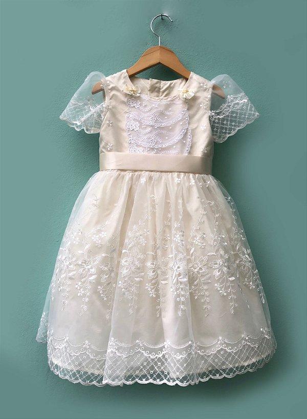 Vestido Flor de Algodão - Off White