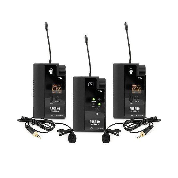 Microfone sem fio duplo Arcano AR-WBODY-2 lapela p/ câmeras e smartphones
