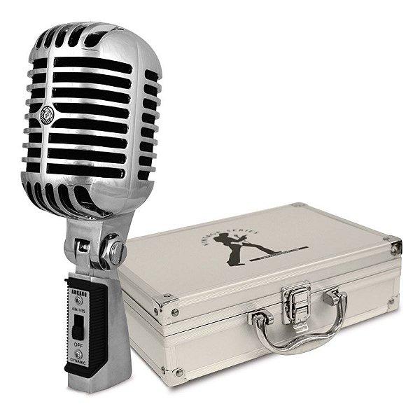 Microfone dinâmico com fio Arcano AM-V55 vintage c/ imperfeições