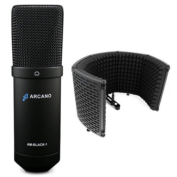 Microfone condensador USB Arcano AM-BLACK-1 + Protetor acústico ARC-SK25