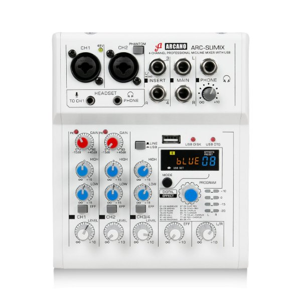 Mesa de som e interface USB Arcano ARC-SLIMIX