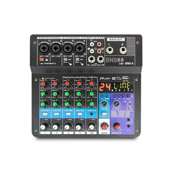 Mesa de som e interface USB BM800 AUDIO BMX-6