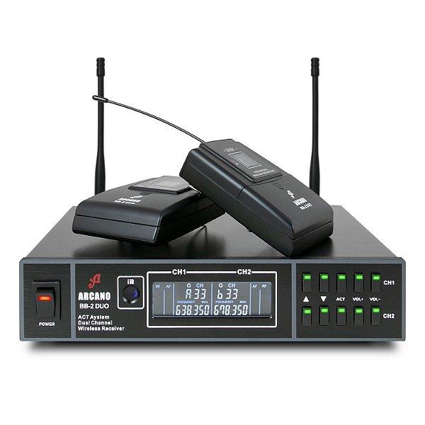Microfone sem fio duplo UHF Arcano BB-2 DUO bodypacks auricular e lapela