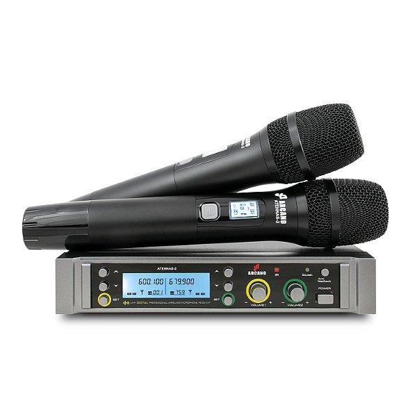 Microfone sem fio duplo UHF Arcano Atennas-2
