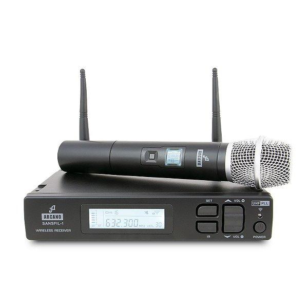 Microfone sem fio de mão UHF Arcano SANSFIL-1H
