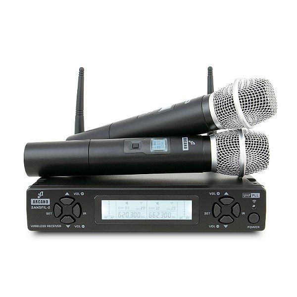 Microfone sem fio duplo UHF Arcano SANSFIL-2H