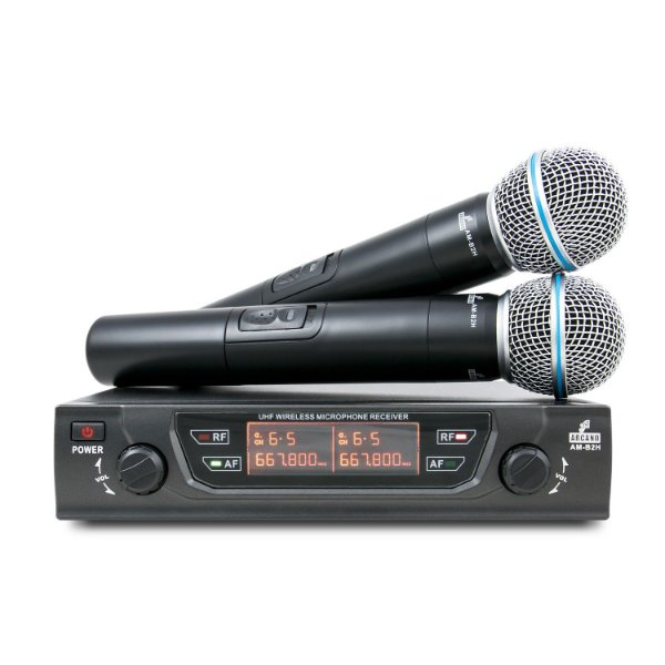 Microfone sem fio duplo UHF Arcano AM-B2H
