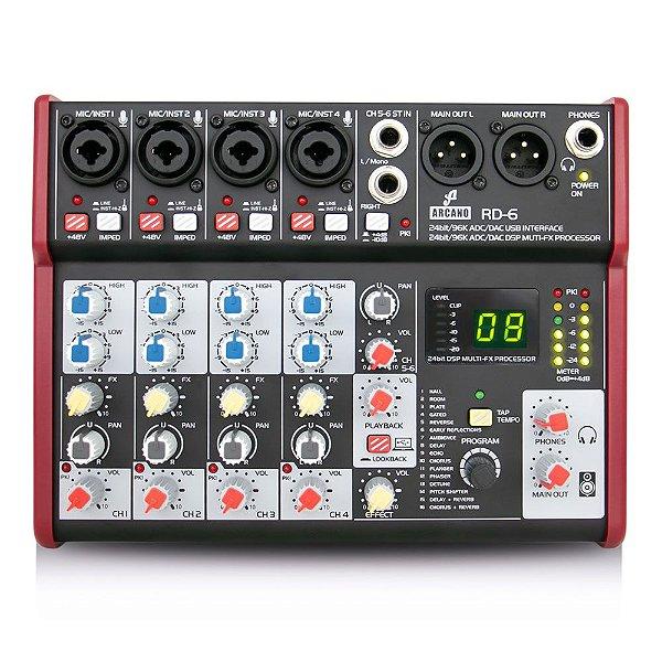 Mesa de som e interface USB Arcano RD-6