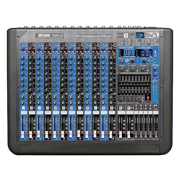 Mesa de som 12 canais Arcano TOMP-12 duplo EQ 256 DSP efeitos USB