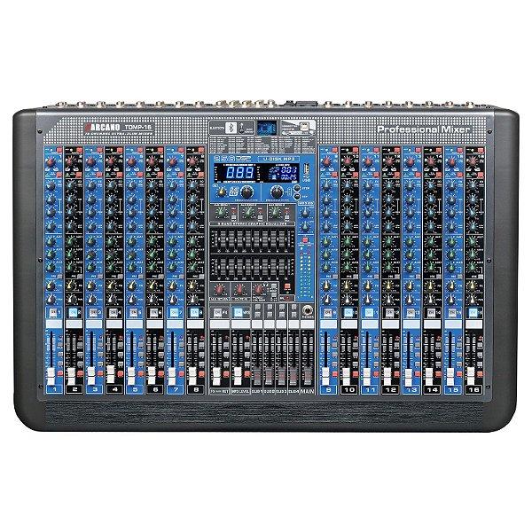 Mesa de som 16 canais Arcano TOMP-16 duplo EQ 256 DSP efeitos USB