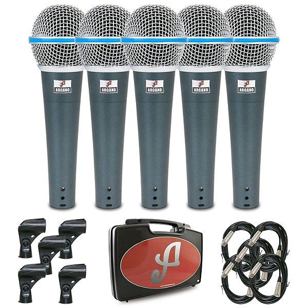 Kit com 5 microfones dinâmicos Arcano Osme-8KIT com fio