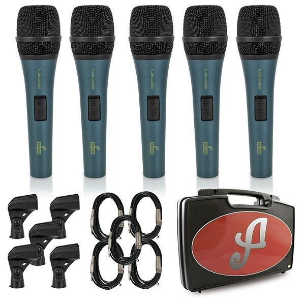 Kit com 5 microfones dinâmicos Arcano PLATINUM-S8KIT com fio