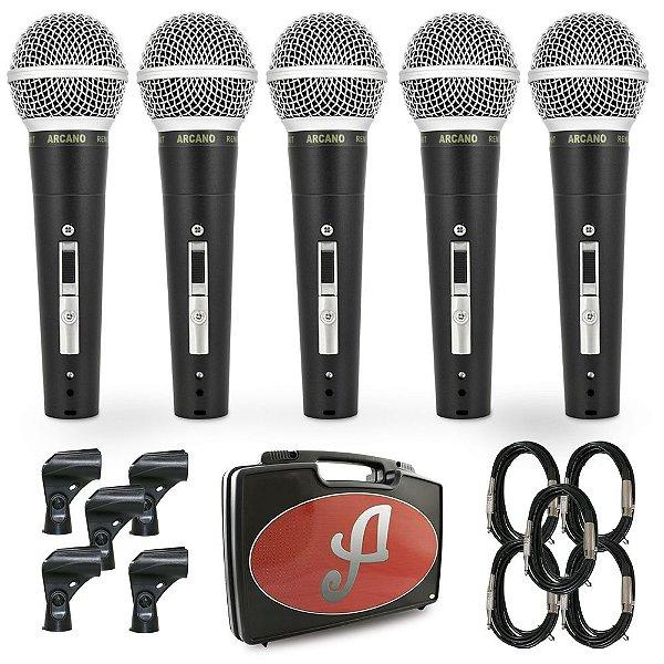 Kit com 5 microfones dinâmicos Arcano Renius-8KIT com fio
