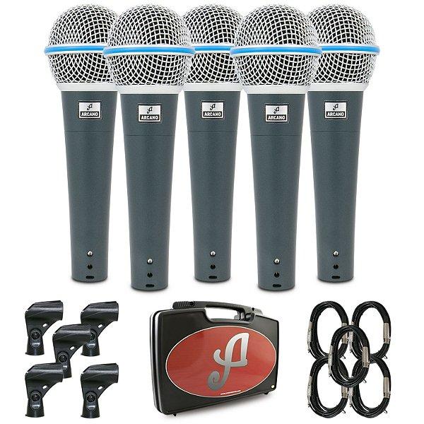 Kit com 5 microfones dinâmicos Arcano Rhodon-8KIT com fio
