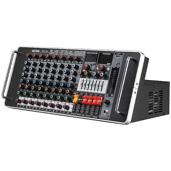 Mesa de som amplificada padrão rack Arcano Rack-P8 1000W RMS