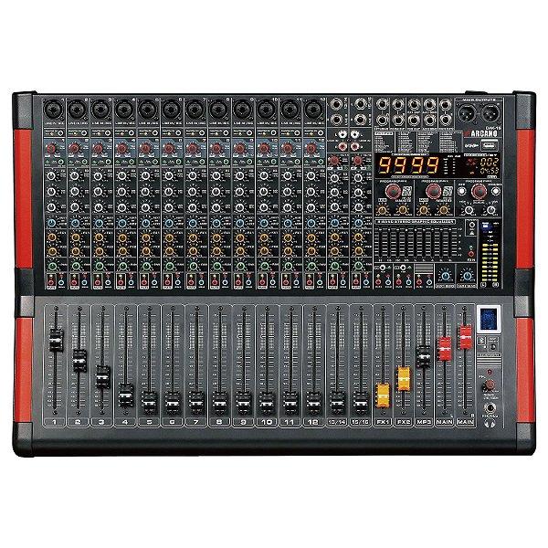 Mesa de som 16 canais Arcano DAK-16 duplo efeito rec EQ USB