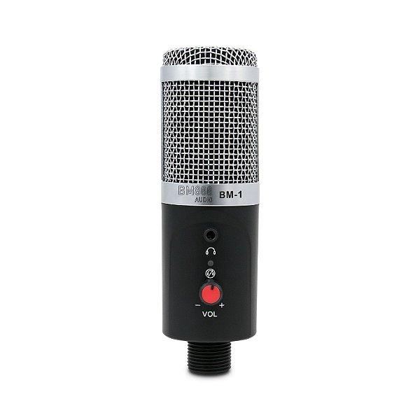 Microfone condensador BM800 AUDIO BM-1 c/ suportes e USB