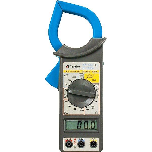Alicate Amperímetro Digital ET-3200A Azul/Cinza MINIPA