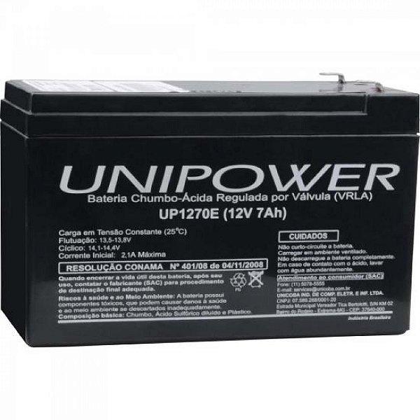 Bateria Estacionária Selada 12V/7Ah VRLA UP1270E UNIPOWER