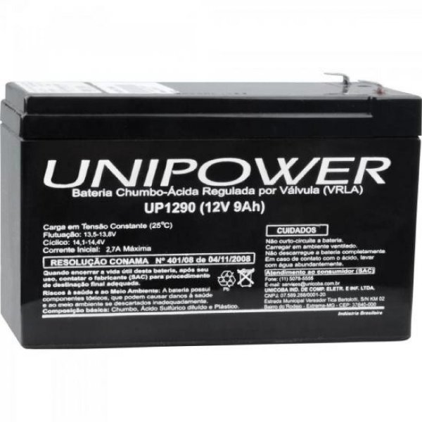 Bateria Estacionária Selada 12V/9A VRLA UP1290 UNIPOWER
