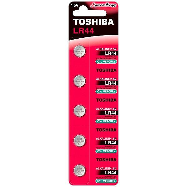 Pilha Botão Alcalina 1,5V LR44 TOSHIBA (Cartela com 5 Unid.) - CXF / 20