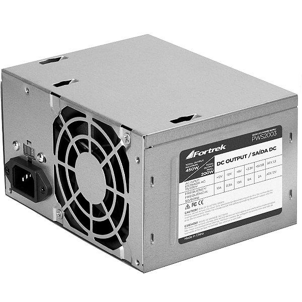 Fonte ATX 200W Reais 20+4P PWS-2003 FORTREK