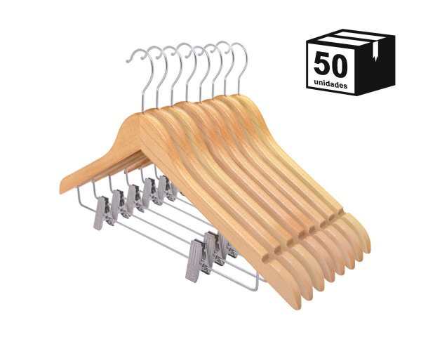 Kit 50 Cabides De Madeira Nobre Verniz Marfim com Presilha