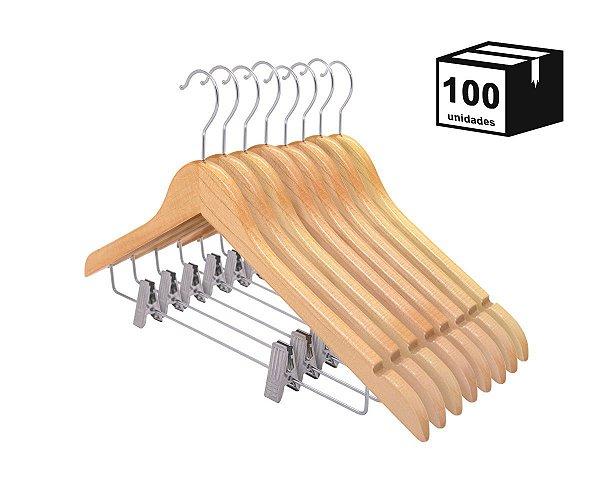Kit 100 Cabides De Madeira Nobre Verniz Marfim com Presilha