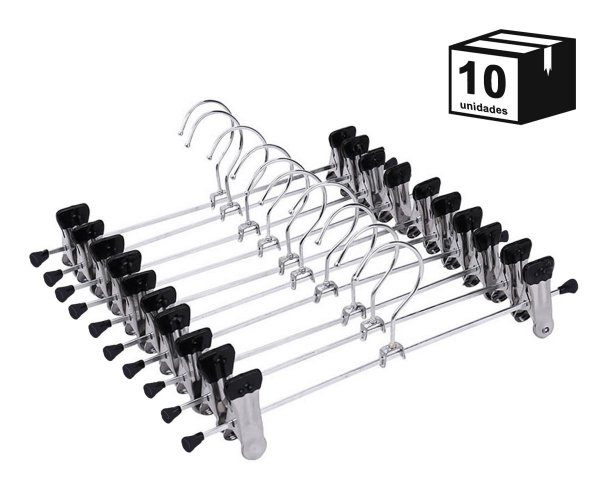 Kit 10 Cabides Com Presilhas Cromado para Calça, Saia ou Bermuda